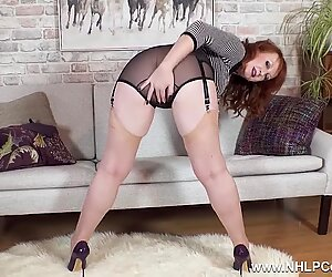 Big tits Milf Red finger fucks in nylons and high heels