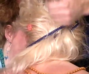 Strange looking red and blond haired gals give a stout blowjob for cum (FFM)
