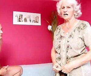 Mamie betty baise une jeune file d'attente