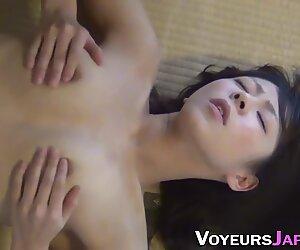 Hairy asian rubs her muff