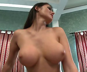 Busty brunette babe loves titty fucking her man