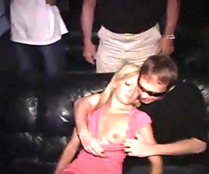 Blonde cutie Ellie fucking  anonymous guys in a public theater