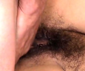Lucky dude licking wet pussy under natural bush