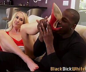Busty milf foot fucked and jizzed