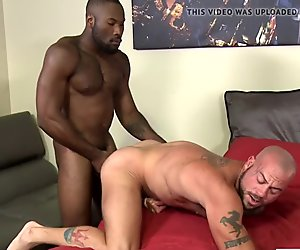Sexy black guy fucks white ass