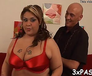 Mature fatty loves to feel plump rods stuffing her juicy pussy