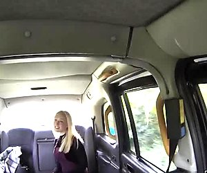 Blonde licking arse to British fake cab driver