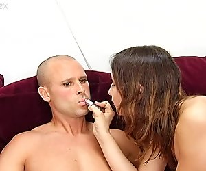 Kinky brunette girlie with small tits Amber Rayne rides cock of Matt Bixel