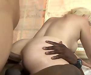 Interracial Anal Gangbang for Horny Blonde