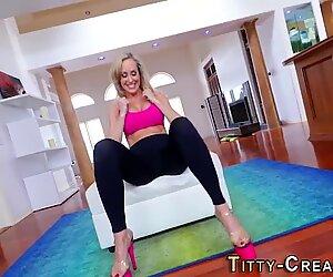 Mature blonde milf tit fucks huge dick