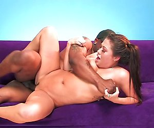 Asian London Keys throats and fucks a black cock