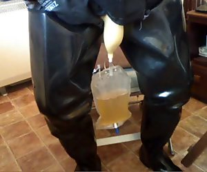 Rubber urinal use.