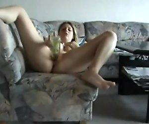 Amateur Teen Fucks Bottle on Webcam