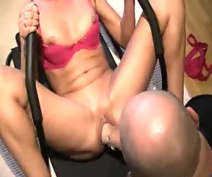 Brutally fisting the wife as she exercises her abs