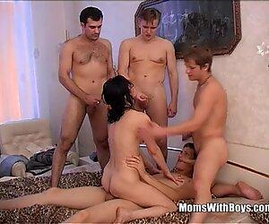Брюнетка Бабуля принимает четыре молодёж, тяжело Хуи