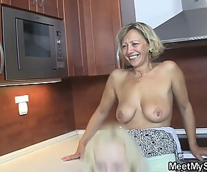 Czech blonde involved into home threesome