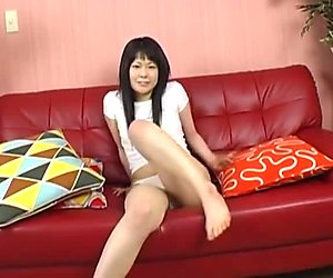 Hot little Asian chick slowly takes her sexy panties off